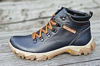 Ботинки  реплика зимние мужские натуральная кожа, мех набивная шерсть темно синие (Код: Т1228)