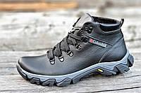 Ботинки   зимние мужские натуральная кожа, мех набивная шерсть черные (Код: Б1226)