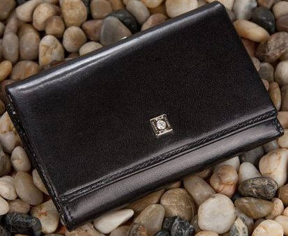 Оригинальный женский кожаный кошелек VERUS Paris, артикул: 89A PAR черный