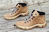 Ботинки  реплика зимние мужские натуральная кожа, мех набивная шерсть светло коричневые (Код: Т1227а)