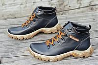 Ботинки  реплика зимние мужские натуральная кожа, мех набивная шерсть темно синие (Код: Т1228а)
