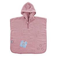 Махровое пончо Poncho XKKO Organic - Baby Pink Stars, фото 1
