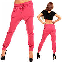 Стильные розовые штаны с мотней женские