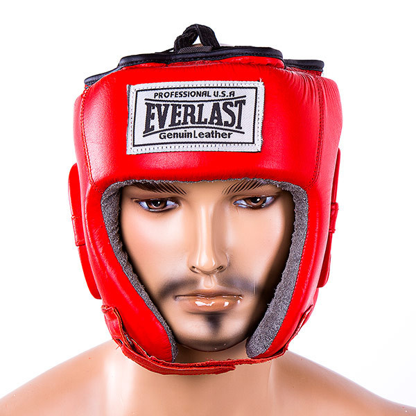 Шлем боксерский открытый кожа Everlast EVSV480 красный