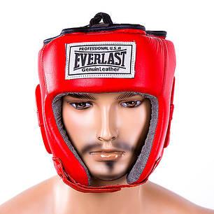 Шлем боксерский открытый кожа Everlast EVSV480 красный, фото 2