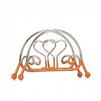 Салфетница в форме сердца металлическая с резиновой основой