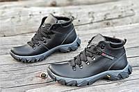 Ботинки   зимние мужские натуральная кожа, мех набивная шерсть черные (Код: Б1226а)