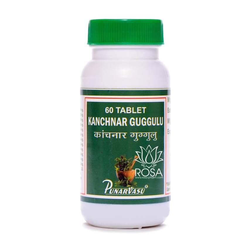 Канчнар Гуггул (Kanchnar Guggul, Punarvasu) нормализует выработку тироксина (гормон щитовидной железы), 60 таб