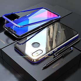 Чехол бампер для Xiaomi Mi 8 металлический + съемная крышка на магнитах из закаленного стекла, синий