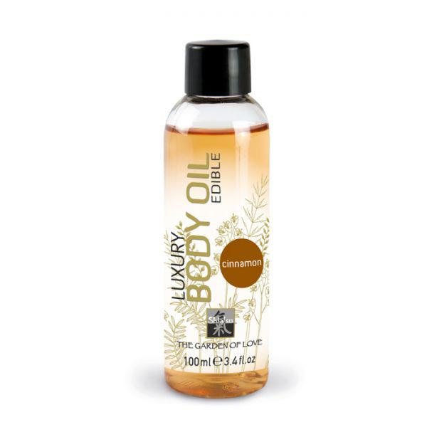 Съедобное массажное масло Shiatsu Luxury Body Edible Oil Cinnamon - корица, 100 мл