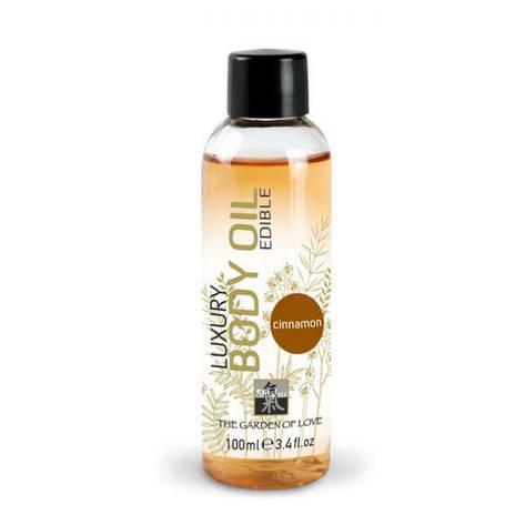 Съедобное массажное масло Shiatsu Luxury Body Edible Oil Cinnamon - корица, 100 мл, фото 2