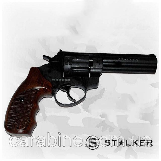 """Револьвер флобера STALKER S 4,5"""", wood, (барабан - силумин), коричневая пластиковая рукоять"""