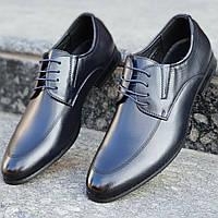 Туфли мужские классические модельные на шнурках натуральная кожа темно синие стильные (Код: М1219а)