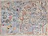 Средневековая морская карта  с чудовищами 100см х 135см