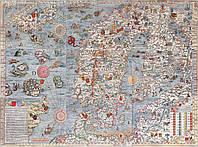 Средневековая морская карта  с чудовищами 100см х 135см, фото 1