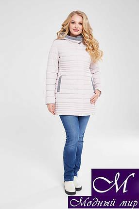 Демисезонная женская куртка большого размера (р. 48-64) арт. Розалия пудра, фото 2