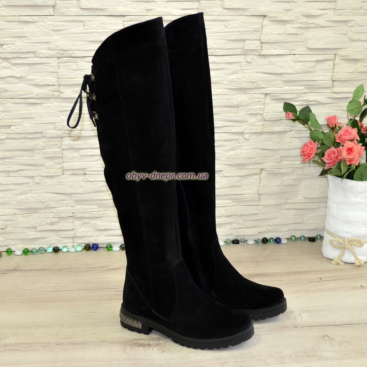 Ботфорты женские на маленьком каблуке, натуральная замша