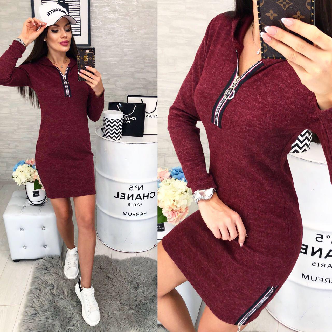 Платье спорт с капюшоном арт. 129 вишня