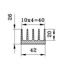 Алюминиевый радиаторный профиль БПО-1905 42х26мм