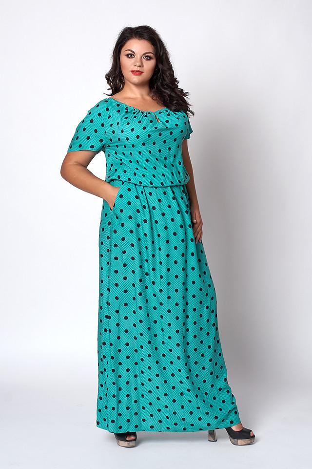b4eb9b939a9 Шикарное бирюзовое платье с принтом горох в пол размер 56-58 ...