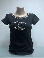 Футболка бренд женская короткий рукав черная копия, фото 1