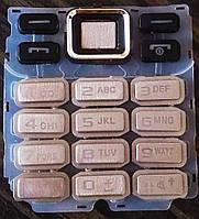 Клавиатура для Samsung C3322 Duos, Серебристая (английская)  /панель/крышка/накладка /самсунг