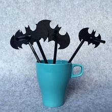 Украшения к Хэллоуину коктейльные трубочки - в наборе 10шт., длина трубочки 20см, летучая мышь 7*4см