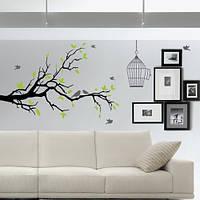 Интерьерная самоклеющаяся наклейка на обои Дерево с птицами и клеткой