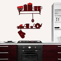 Интерьерная виниловая наклейка Полочки с посудой (ПВХ наклейки стикеры декор наклейки на кухню) матовая
