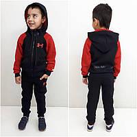 Теплый спортивный костюм с капюшоном Армор | Трикотажный зимний красны костюм трёхнитка на флисе для мальчика