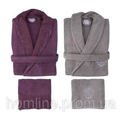 Набор халат (2 шт) с полотенцем (2 шт) Karaca Home Drisela 2018-2 murdum фиолетовый