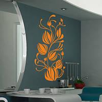 Интерьерная виниловая наклейка Тюльпаны в завитках (декоративные наклейки на стену цветы)