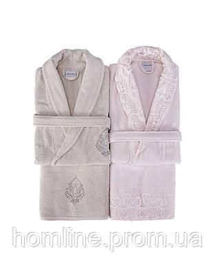 Набор халат (2 шт) с полотенцем (2 шт) Karaca Home Novela 2018-2 pudra пудра