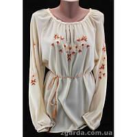 Женская вышиванка из шифонового полотна выполнена в коричневом цвете 46