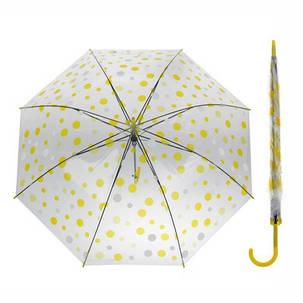 Стильные прозрачные силиконовые зонты трость в горошек, фото 2