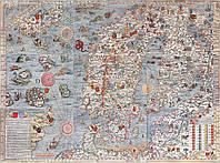 Средневековая морская карта  с чудовищами 75 х 100 см, фото 1