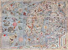 Средневековая морская карта  с чудовищами 75 х 100 см