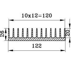 Алюминиевый радиаторный профиль БПО-1908 122х26мм