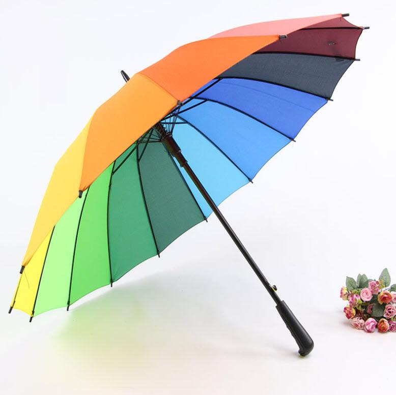 Большой радужный зонт трость Радуга