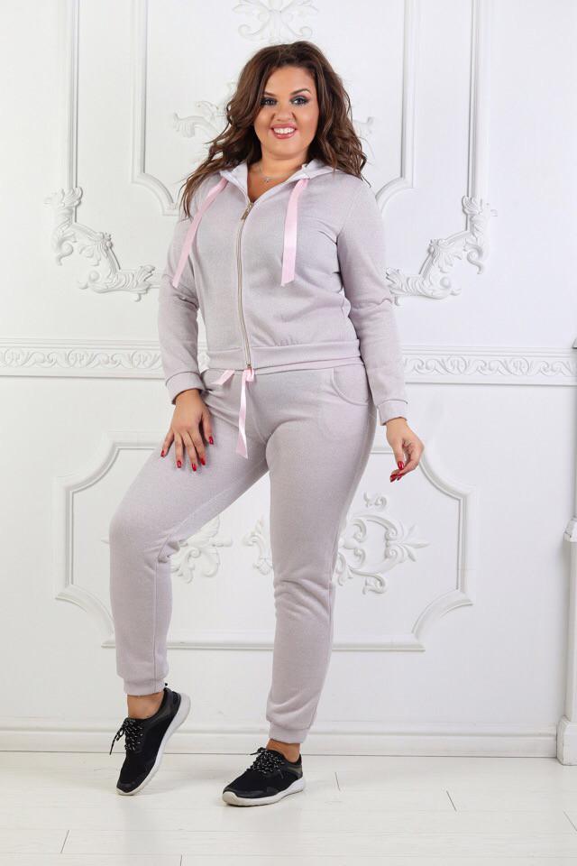 b1589ed7 Женский спортивный костюм батал, петля - люрекс, р-р 50-52 (розовый ...