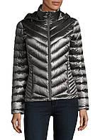 Женская серая легкая стеганая куртка на пуху  с капюшоном Calvin Klein (пакуется в мешочек)
