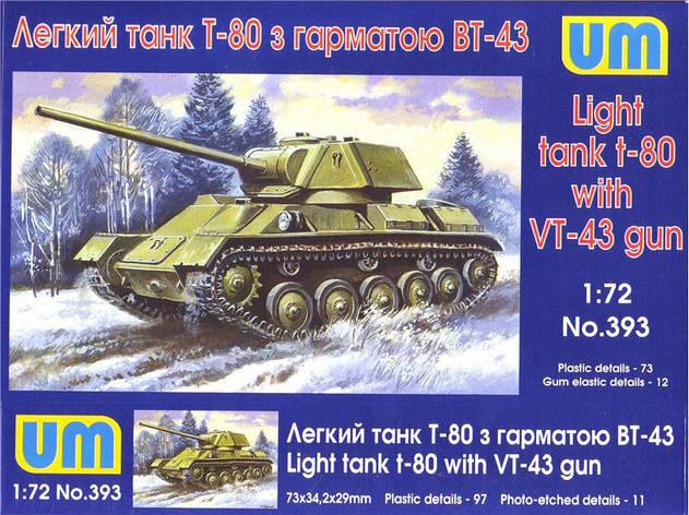 Т-80 с пушкой ВТ-43. Сборная модель в масштабе 1/72. UM 393, фото 2