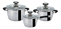 ⭐ Набор посуды GUSTO GT-1303-06/2 - 6 предметов (16см, 1,7л / 18см, 2,4л /22см,3,25л)