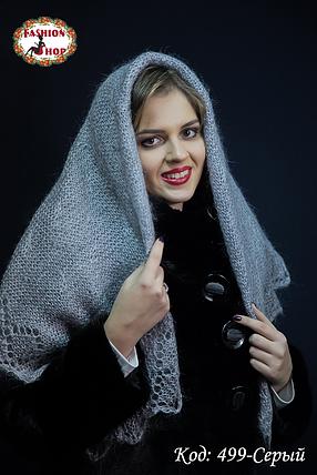 Серый оренбургский пуховый платок Аврора 120 см , фото 2