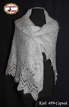 Серый оренбургский пуховый платок Аврора 120 см , фото 3