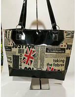 Стильная женская сумка с принтом газеты Удобная вместительная на каждый день Интересный дизайн Код: КГ5915, фото 1