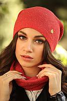 """Комплект шапка и шарф вязаные """"Дюшес """" красно-золотой 903991, фото 1"""