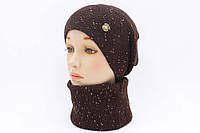 """Комплект шапка и шарф вязаные """"Дюшес """" шоколадно-золотистый 903998, фото 1"""