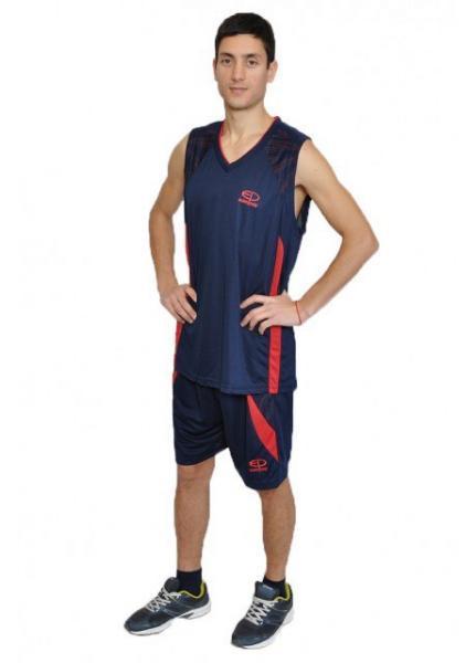 Баскетбольная форма Europaw темно сине-красная
