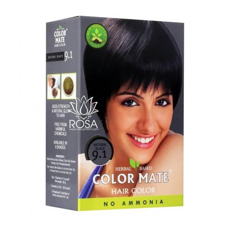Краска для волос Color Mate 9.1 Natural Black (тон 9.1, натуральный черный)